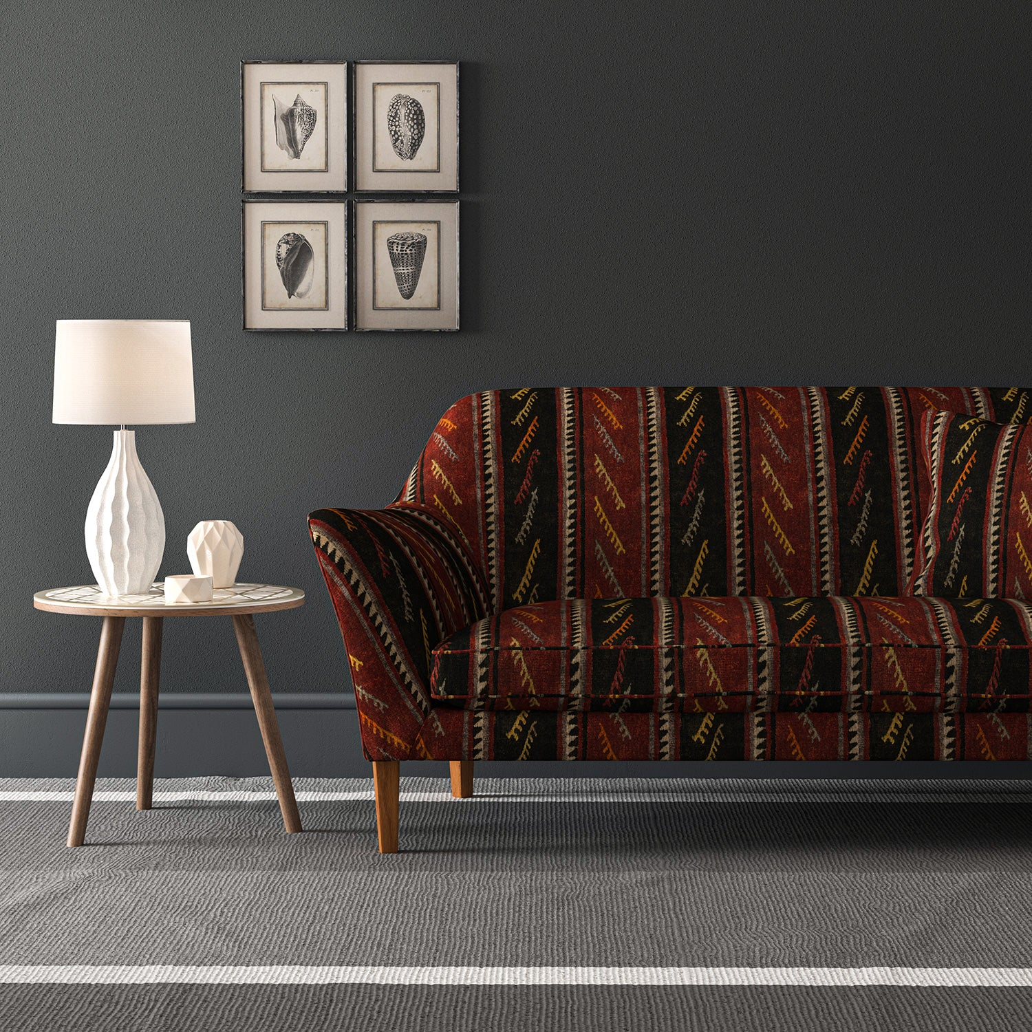 Velvet sofa in a striped velvet fabric in dark red and brown colours with a stain resistant finish