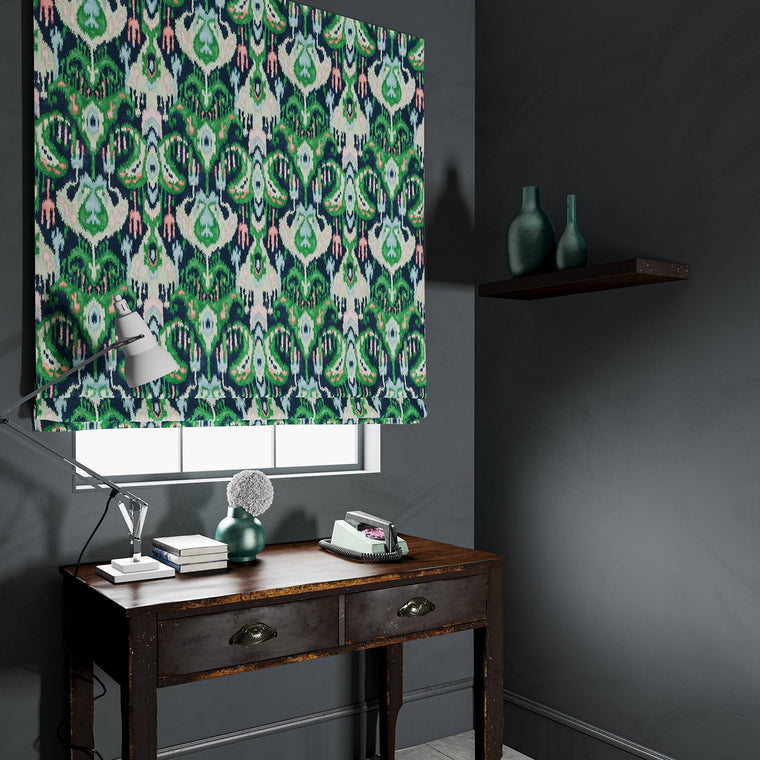 Blind in a blue and green velvet fabric with contemporary abstract design