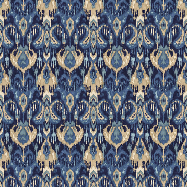 Velvet fabric with a stain resistant finish with an abstract contemporary design in blue colours