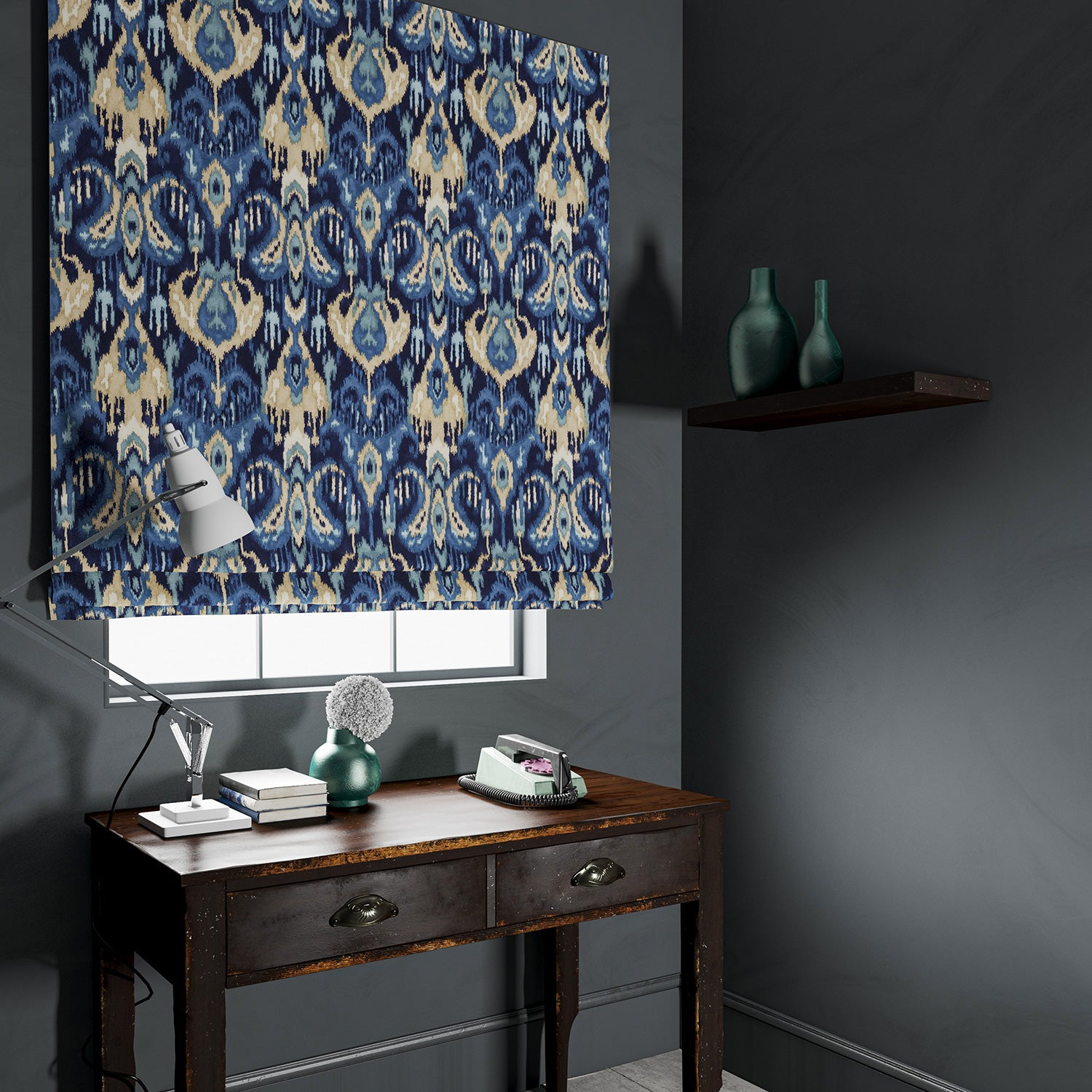 Blind in a blue velvet fabric with contemporary abstract design