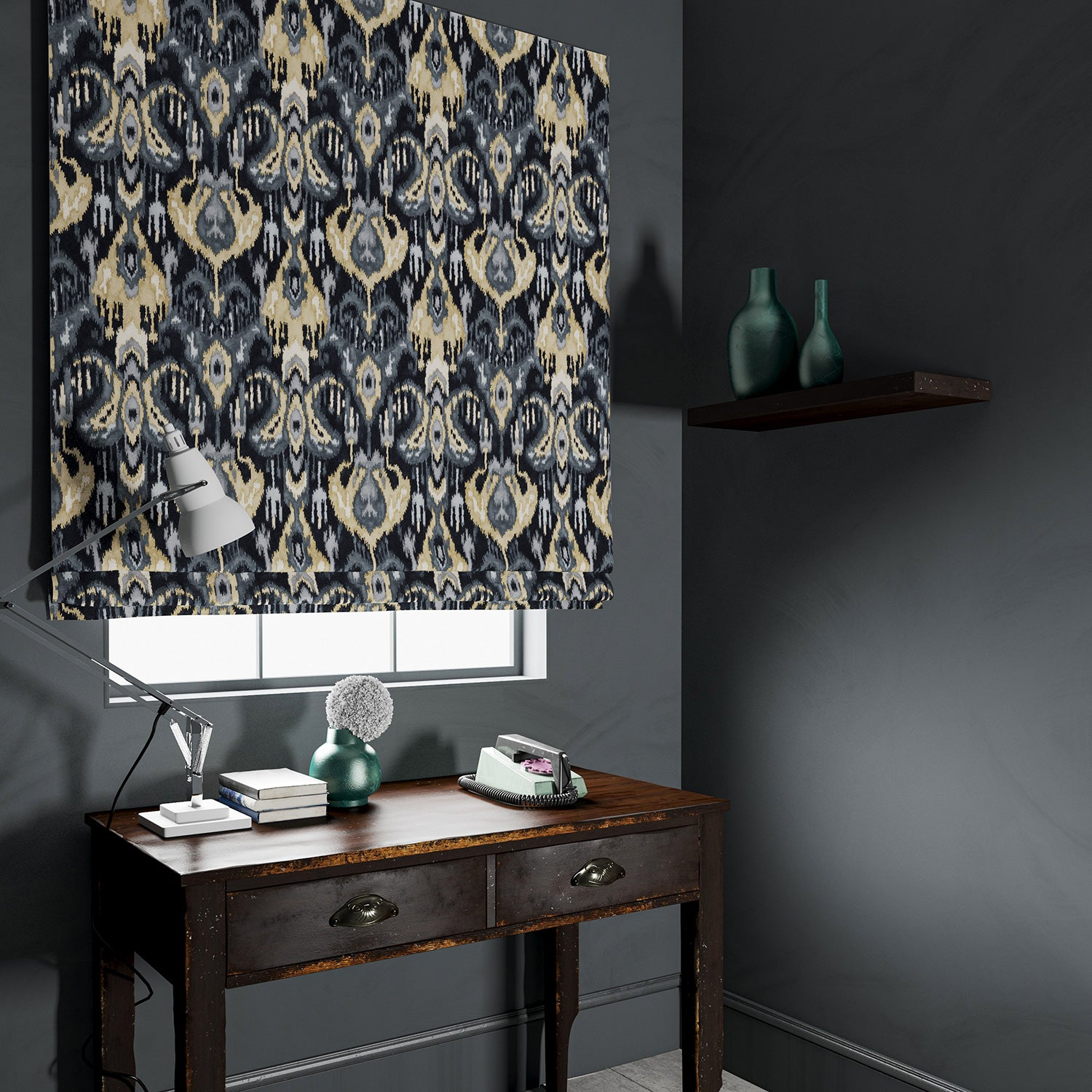 Velvet blind in a dark grey velvet fabric with contemporary abstract design