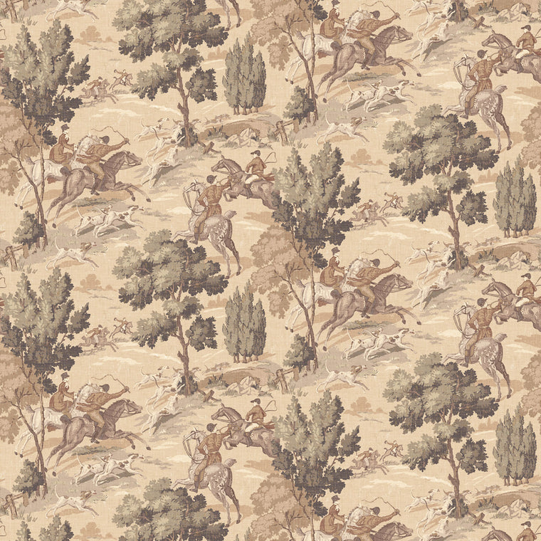 Wallpaper for walls with a vintage English hunting scene