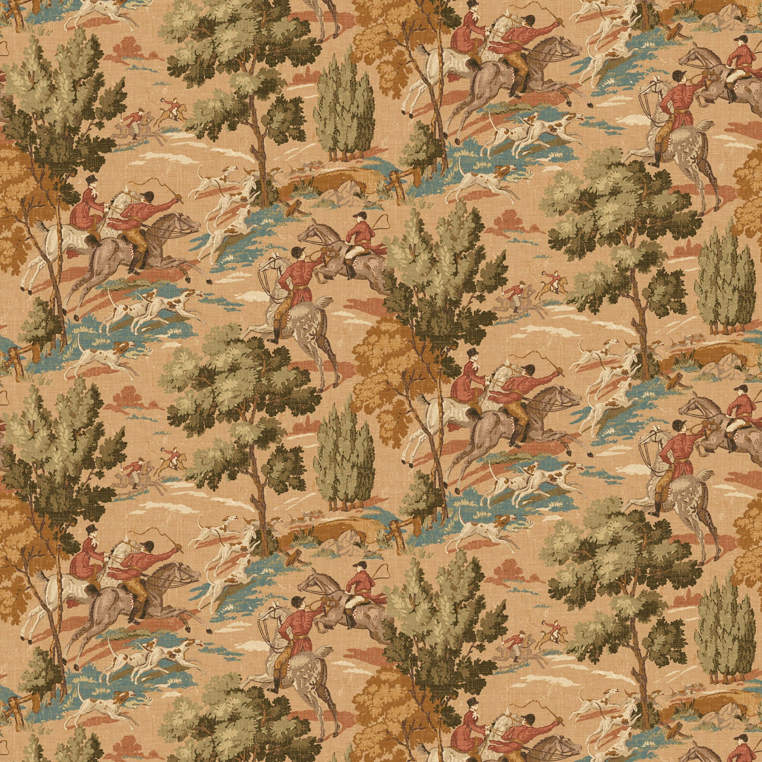 Wallpaper for walls with a vintage English hunting scene in sepia tones