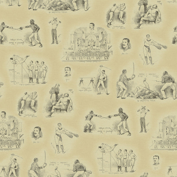 Feature wallpaper for walls with illustrated vintage fencing design