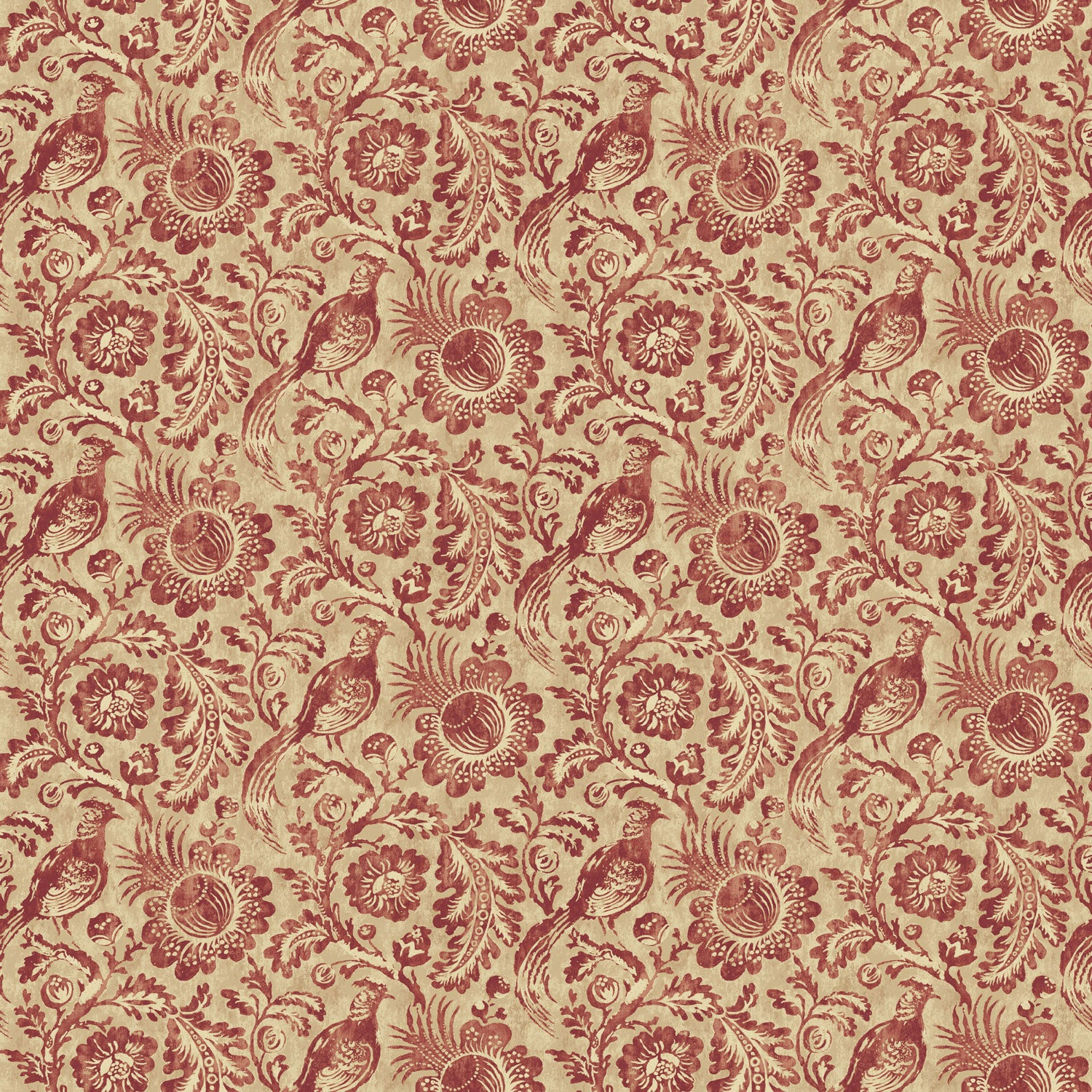 Wallpaper for walls with a berry coloured pheasant and floral design