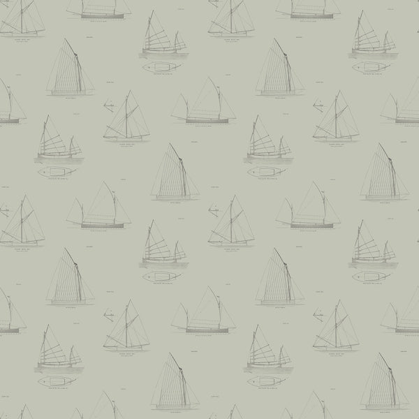 Cromarty Wallpaper - feature wallpaper for walls with blueprint of sailing boats on a grey background