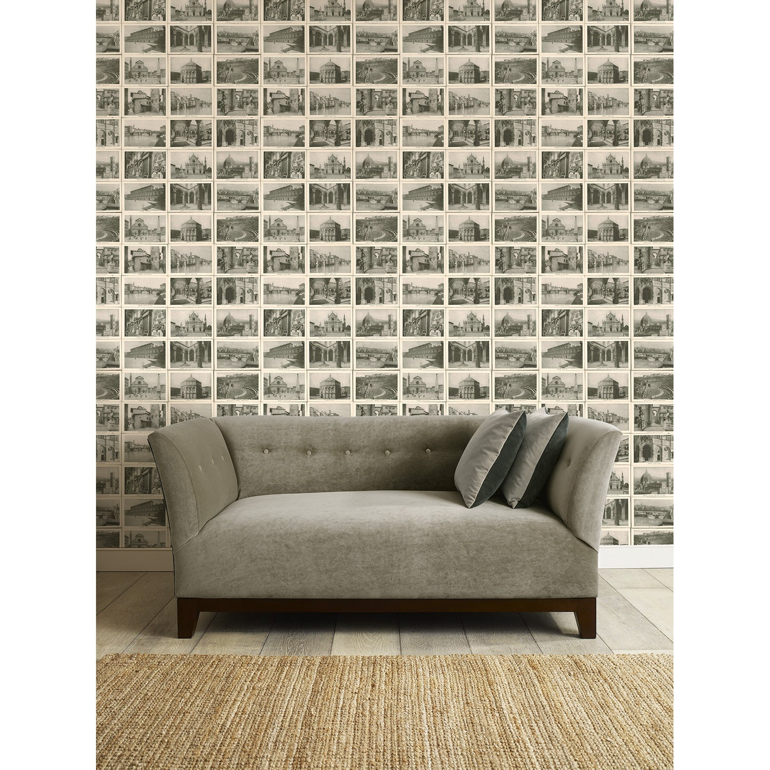 Honeychurch Wallpaper - Feature wallpaper for walls with vintage postcards of Florence, Italy
