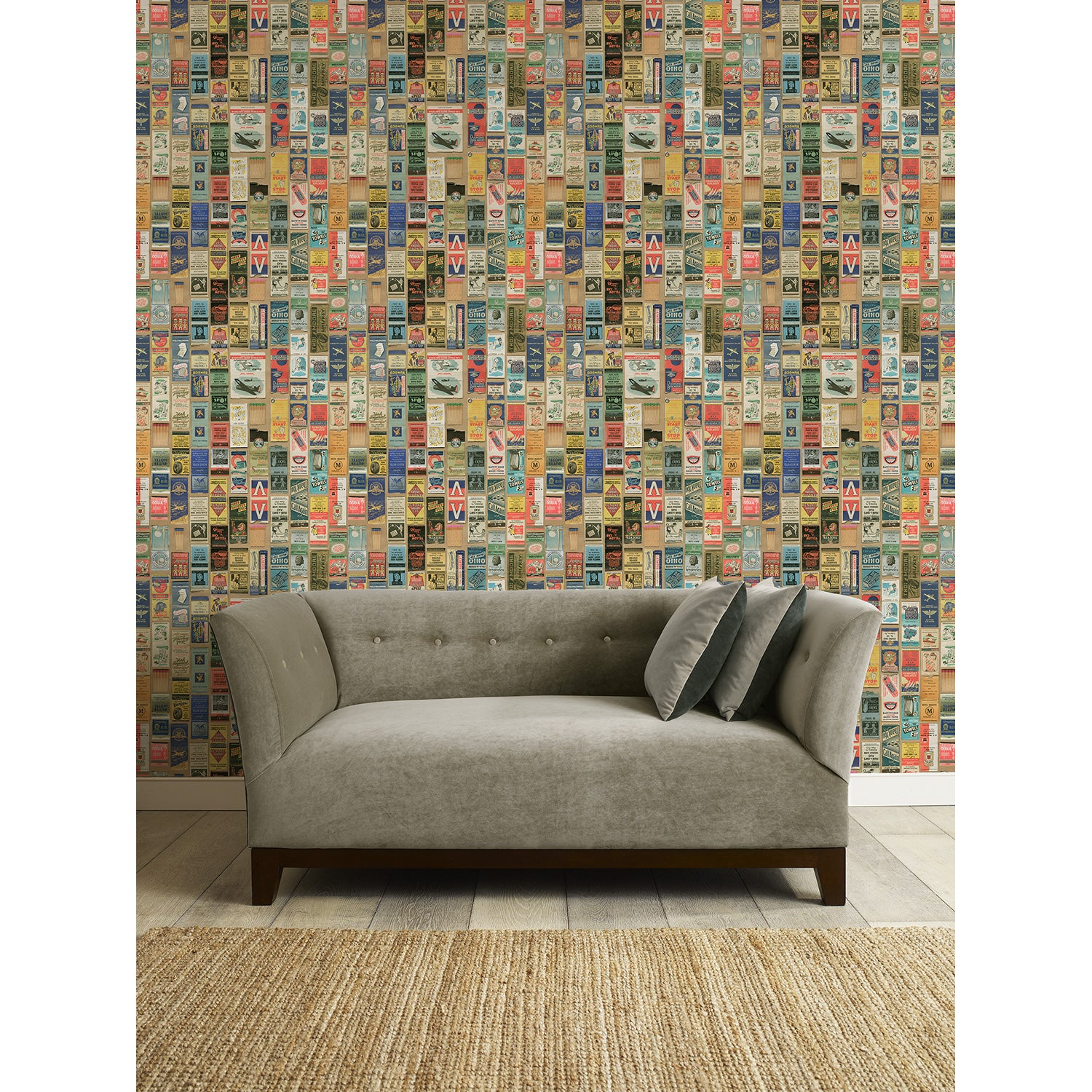 Nightspot Wallpaper - Feature wallpaper for walls with vintage matchbox design