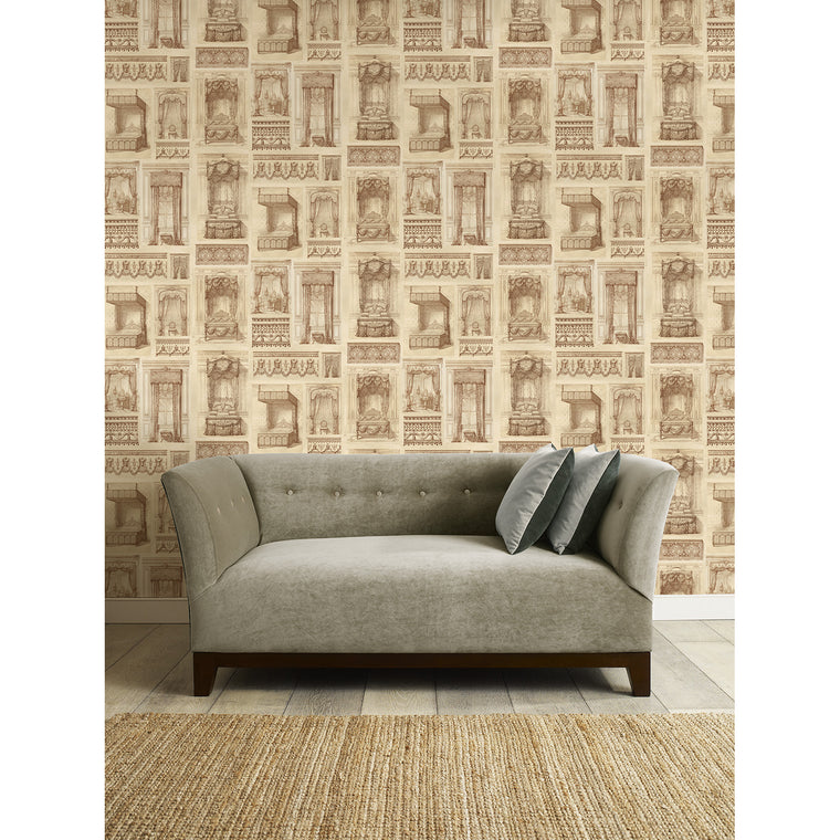 King Louis Wallpaper - feature wallpaper featuring vintage french inspired beds from the King Louis era