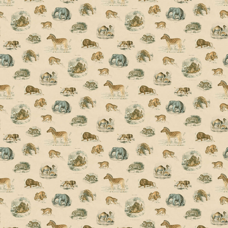Fierce Creatures Wallpaper - featuring an array of safari animals including zebra's and lion's, a stunning feature wallpaper