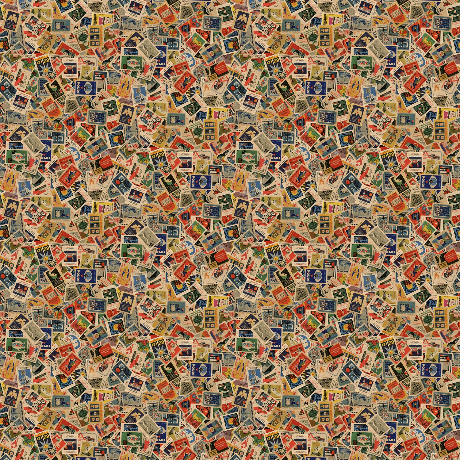 Mental Bloc wallpaper, an eccentric feature wallpaper featuring vintage matchboxes