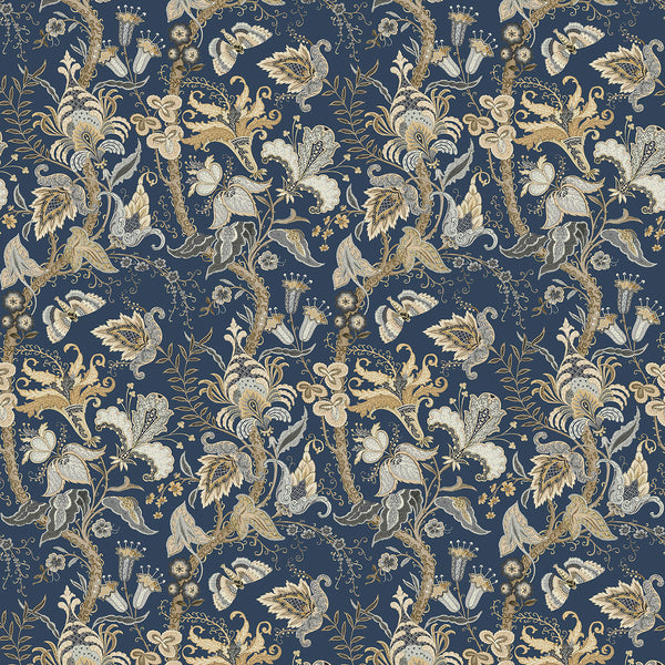 Wallpaper sample of a indigo blue wallpaper with stylised floral design