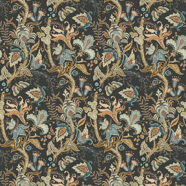 Fabric sample of a dark grey fabric with stylised floral design