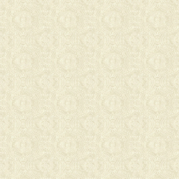 Wallpaper for walls in pearl and white with an intricate jewel like design