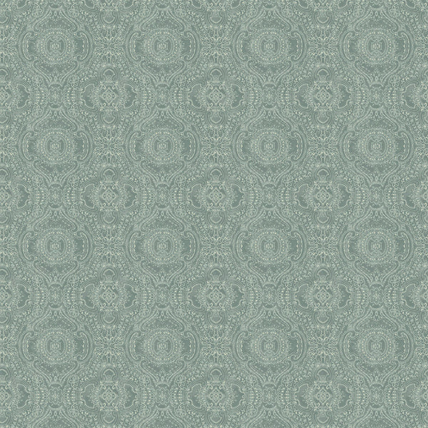 Wallpaper for walls in light blue and white with an intricate jewel like design