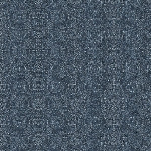 Wallpaper for walls in dark blue and white with an intricate jewel like design