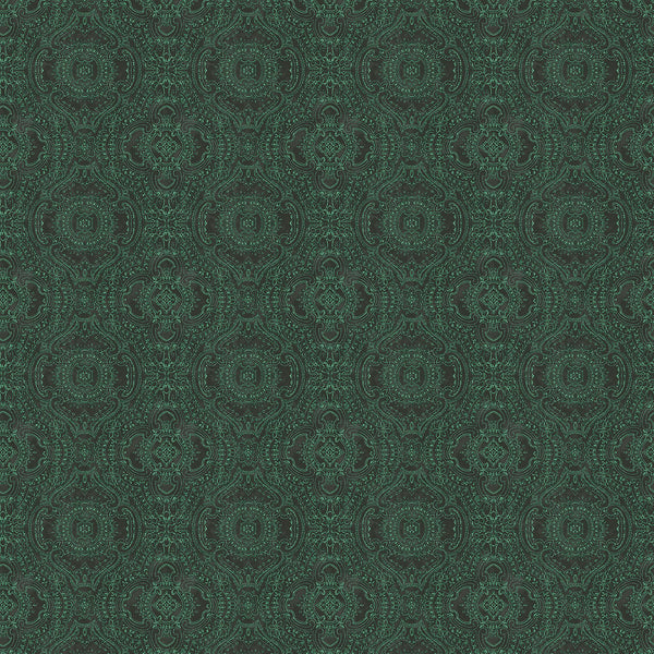 Wallpaper for walls in dark green and white with an intricate jewel like design