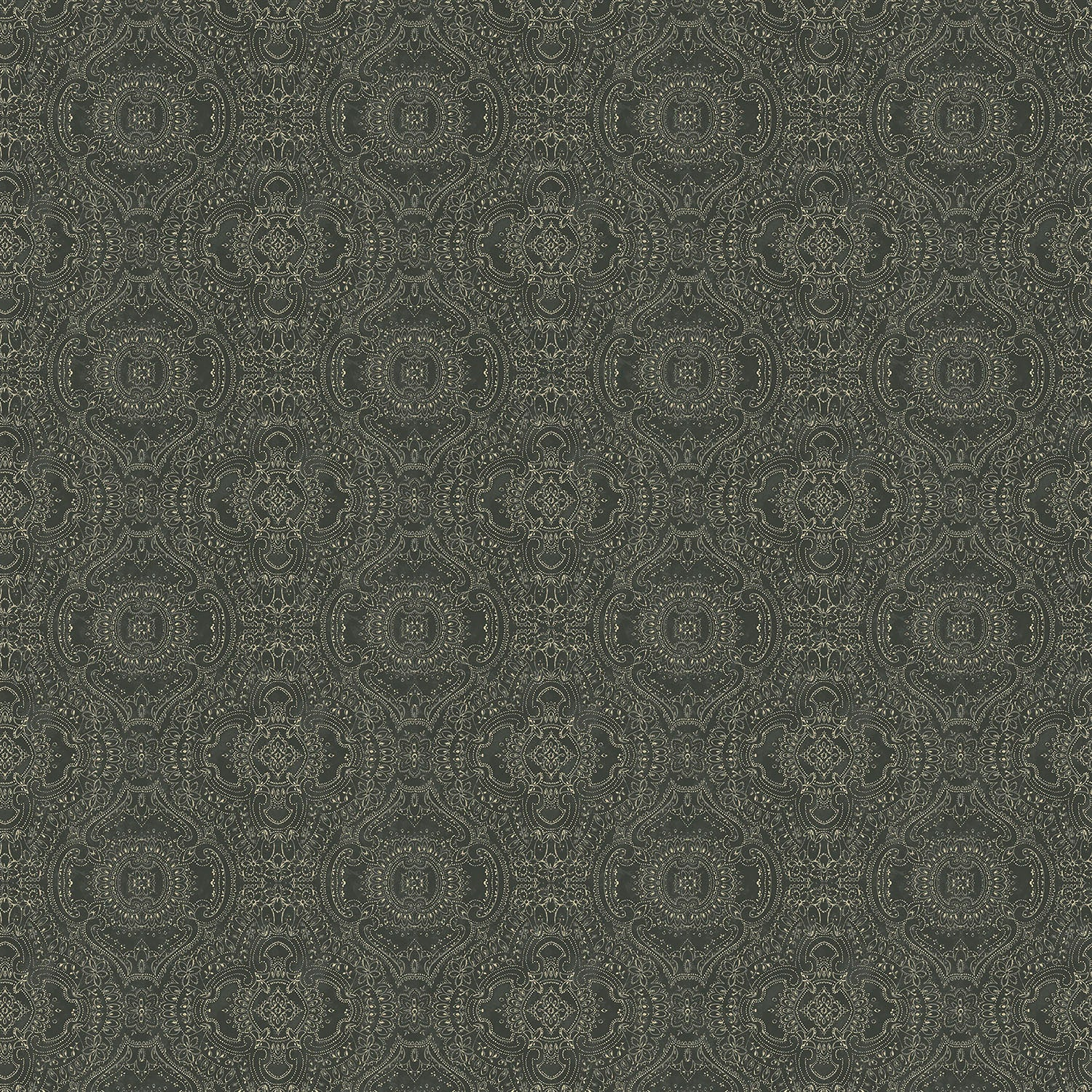 Wallpaper for walls in dark grey and white with an intricate jewel like design