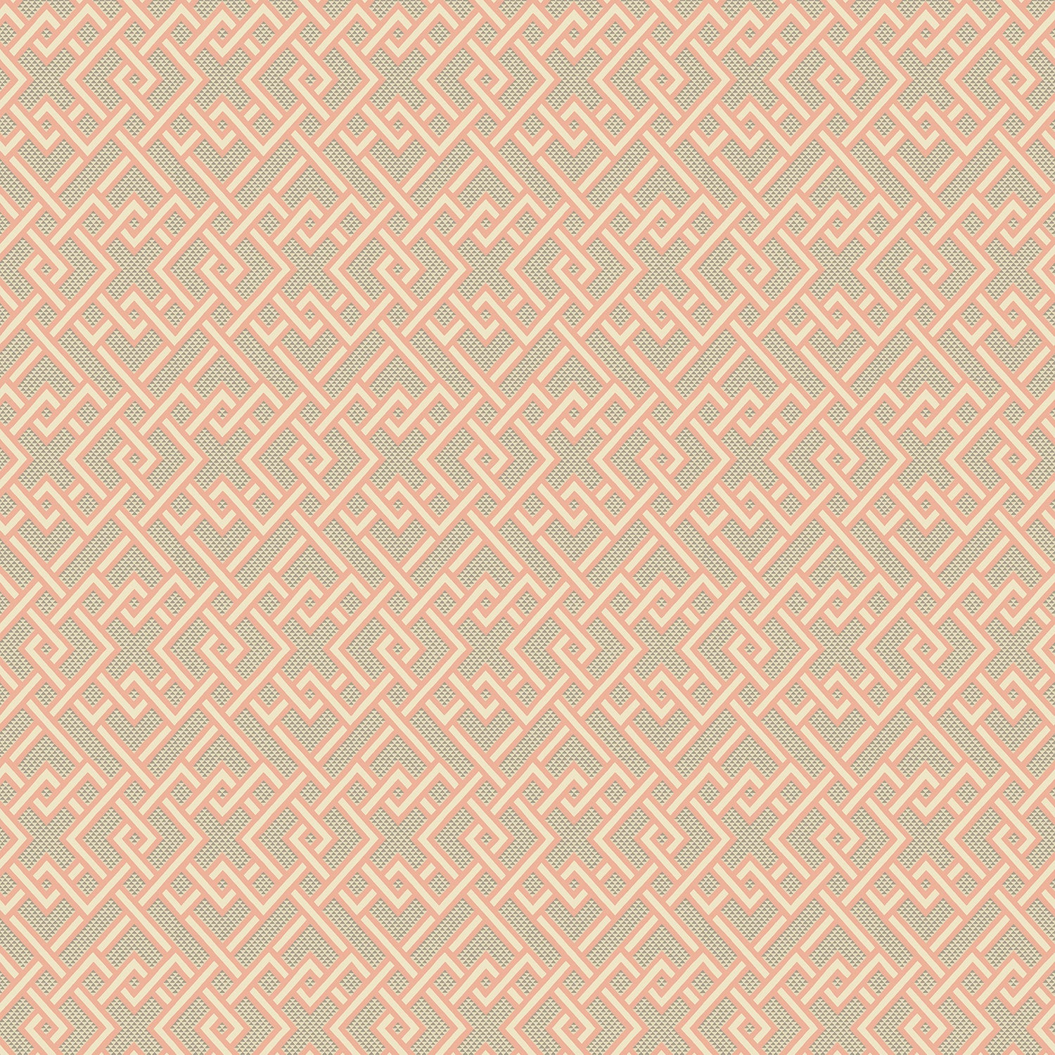 Pink geometric wallpaper for walls, design name Pagoda - colourway Sherbet.