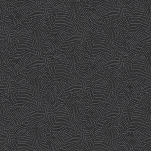 Black wallpaper for walls with abstract wiggly design