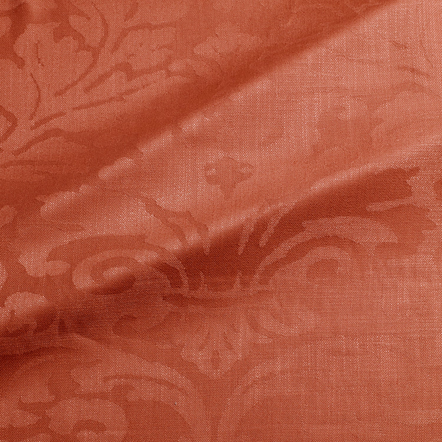 Fabric swatch of a contemporary damask fabric in a red colour