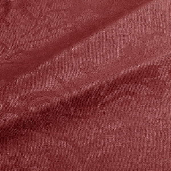 Fabric swatch of a contemporary damask fabric in a burgundy colour