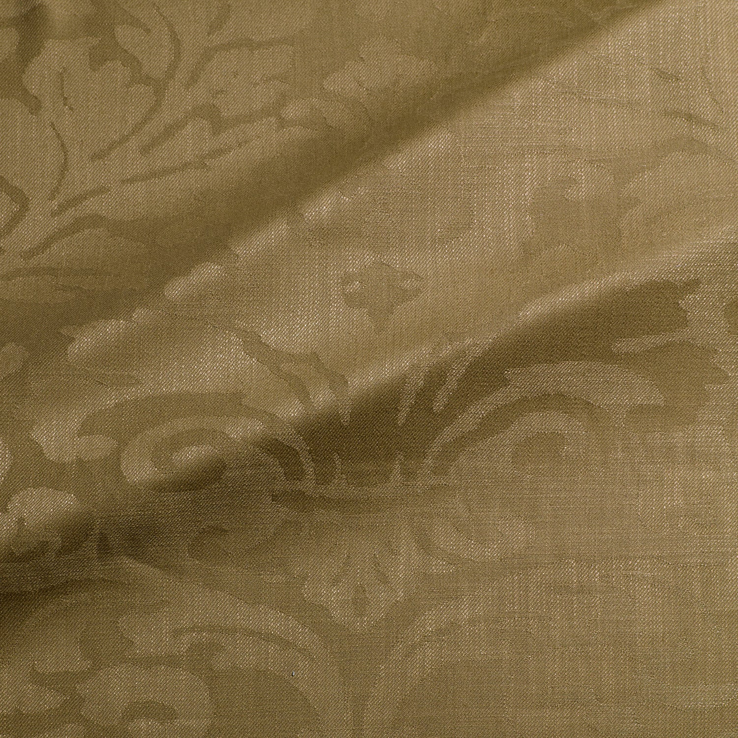 Fabric swatch of a contemporary damask fabric in a brown colour