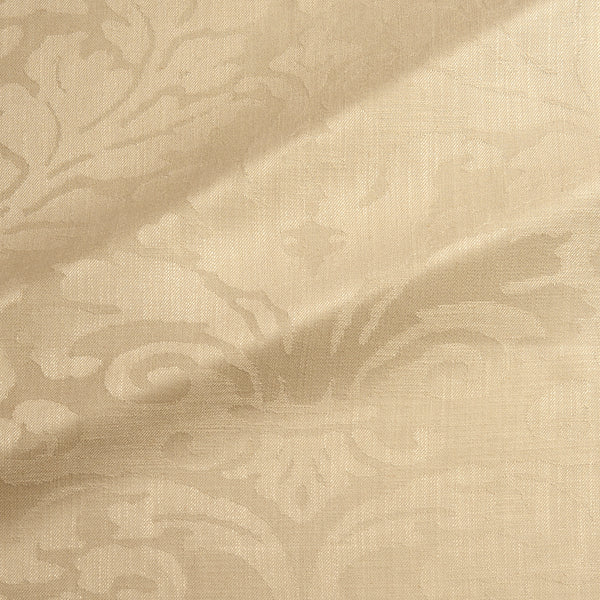 Fabric swatch of a contemporary damask fabric in a light gold colour