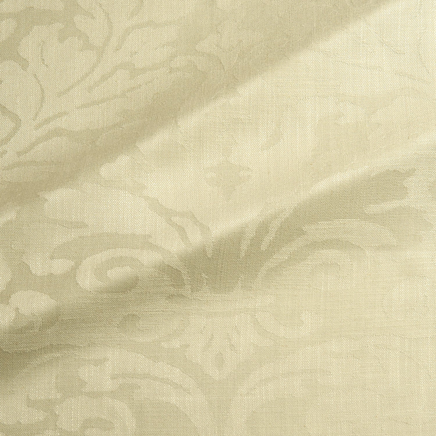 Fabric swatch of a contemporary damask fabric in a light green colour