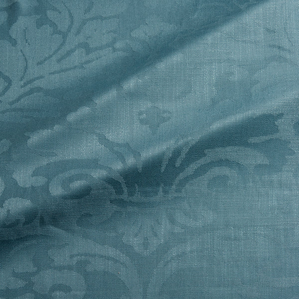Fabric swatch of a contemporary damask fabric in a blue colour