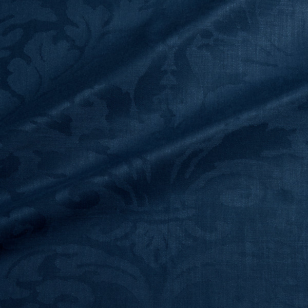 Fabric swatch of a contemporary damask fabric in a dark blue colour