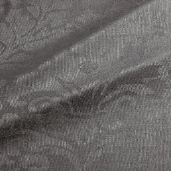 Fabric swatch of a contemporary damask fabric in a dark grey colour