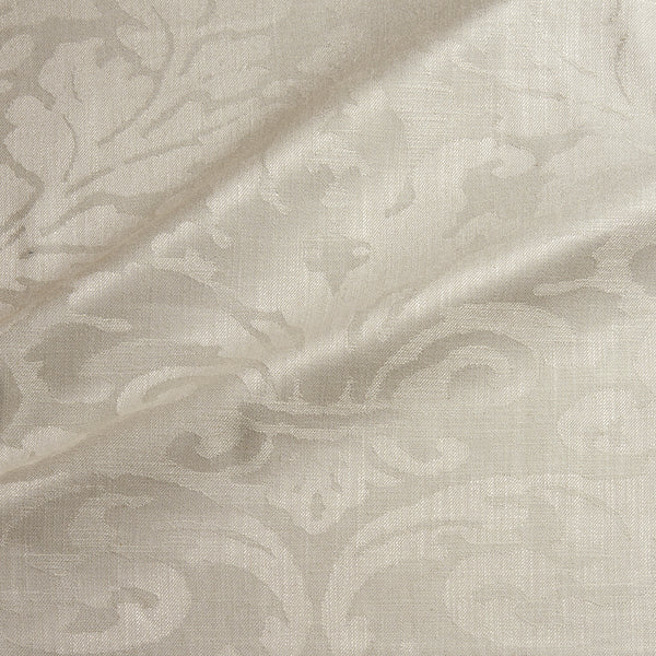 Fabric swatch of a contemporary damask fabric in a light neutral colour