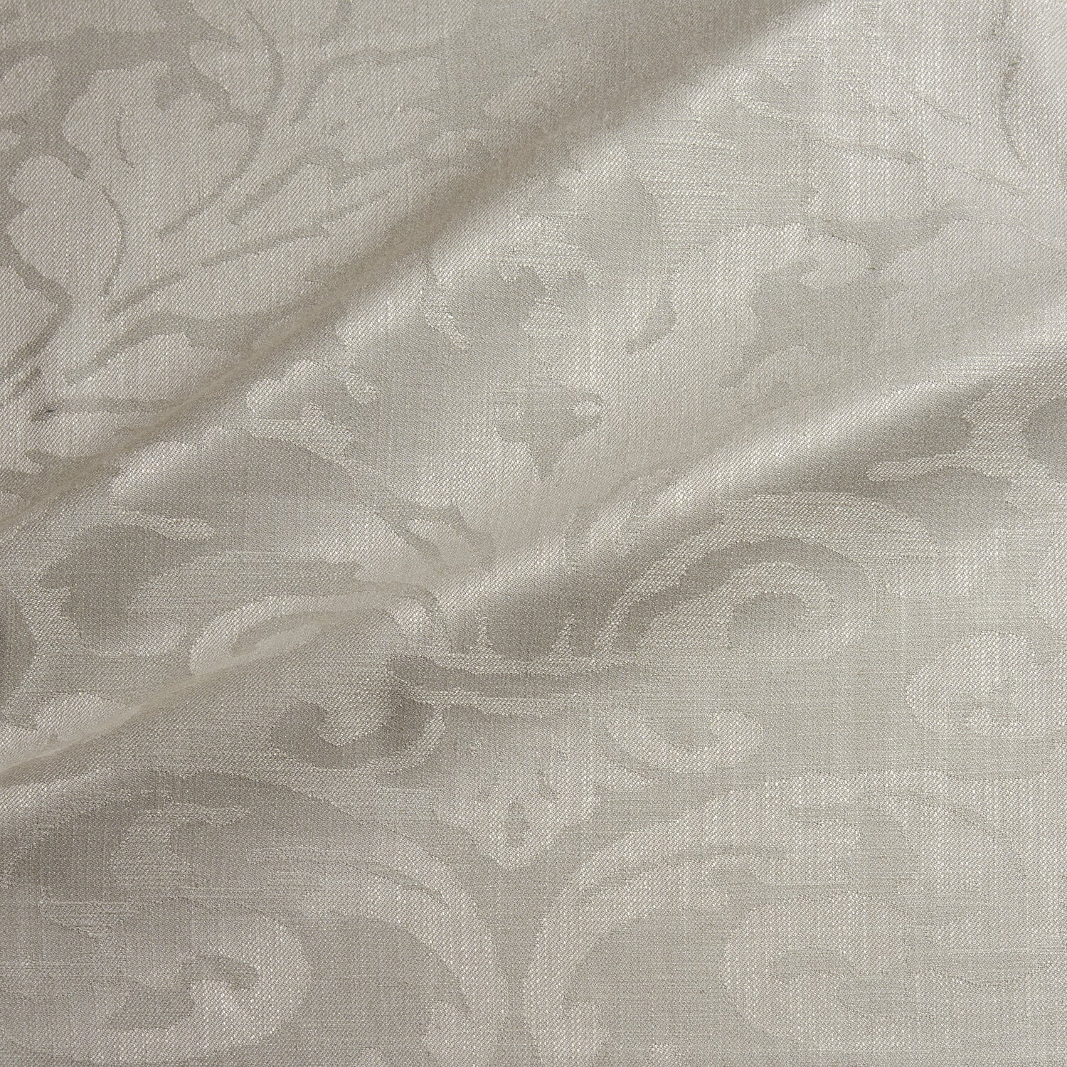 Fabric swatch of a contemporary damask fabric in a neutral colour