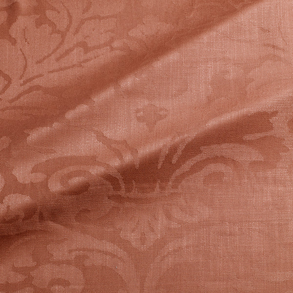 Fabric swatch of a contemporary damask fabric in a terracotta colour