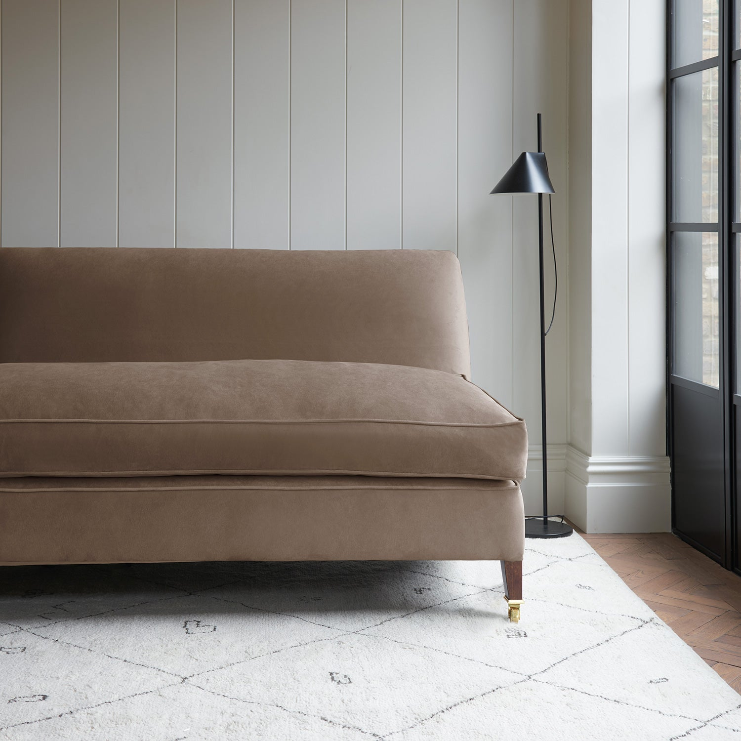 Velvet sofa in a brown velvet fabric with stain resistant finish