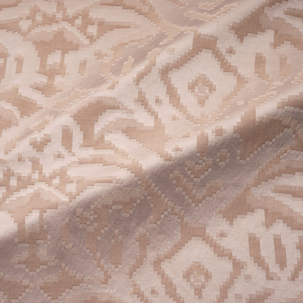 Fabric swatch of a soft blush pink fabric with jacquard design for curtain use