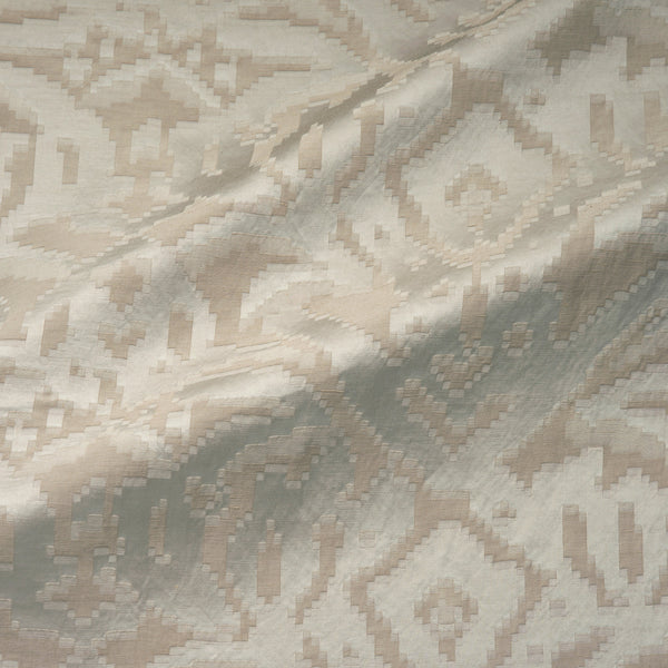 Fabric swatch of a neutral, soft fabric with jacquard design for curtain use