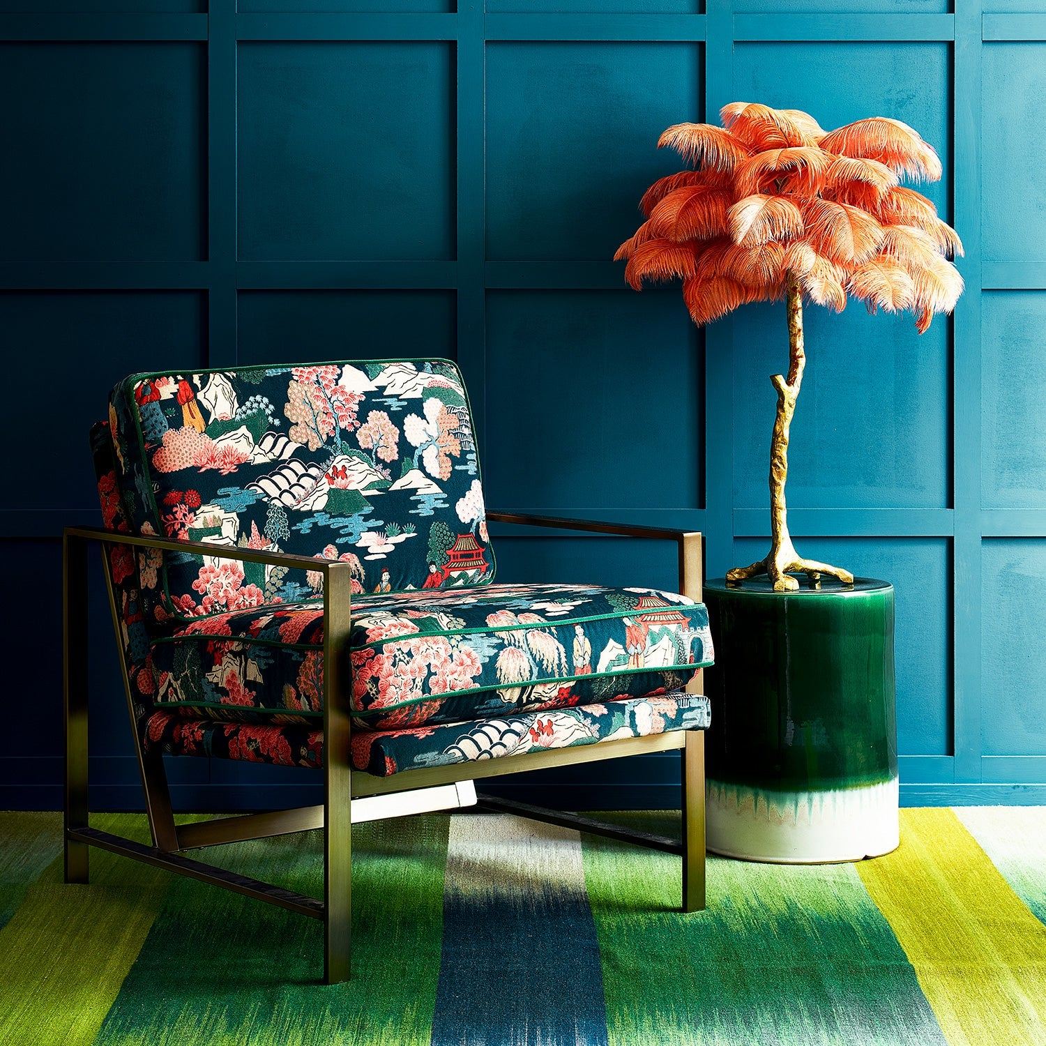 Velvet chair upholstered in a teal and pink velvet upholstery fabric with Japanese inspired design and stain resistant finish