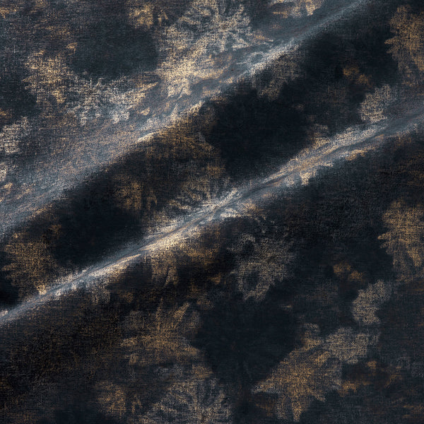 Fabric swatch of a luxurious dark blue velvet upholstery fabric with a metallic foil design