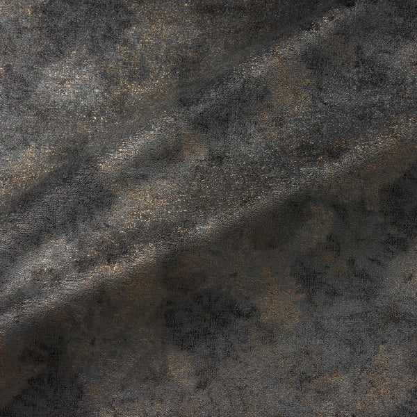 Fabric swatch of a luxurious grey velvet upholstery fabric with a metallic foil design