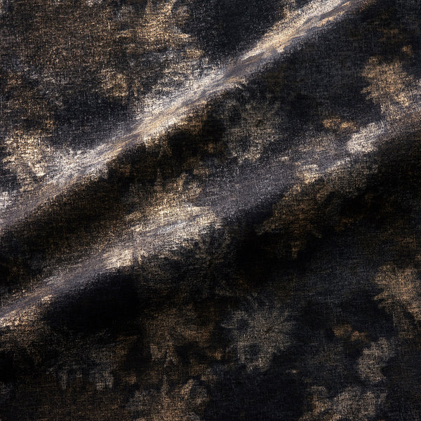 Fabric swatch of a luxurious black velvet upholstery fabric with a metallic foil design