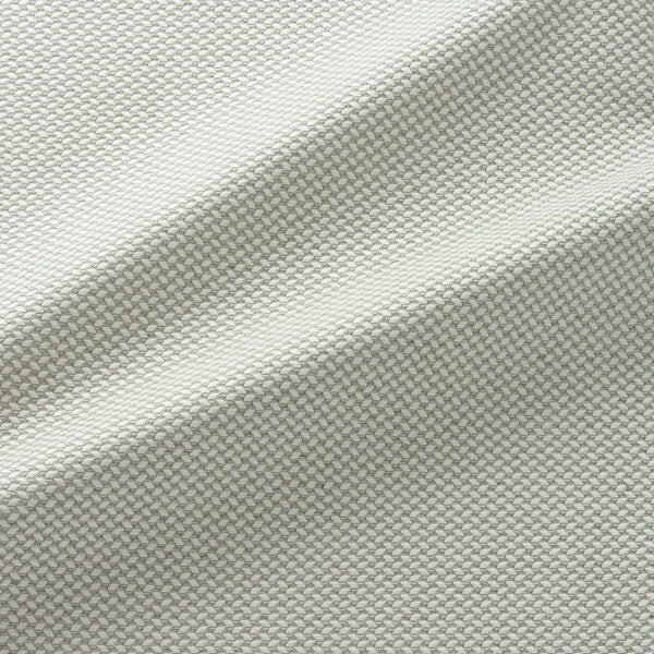 Fabric swatch of a stain resistant geometric weave neutral coloured fabric suitable for curtains and upholstery