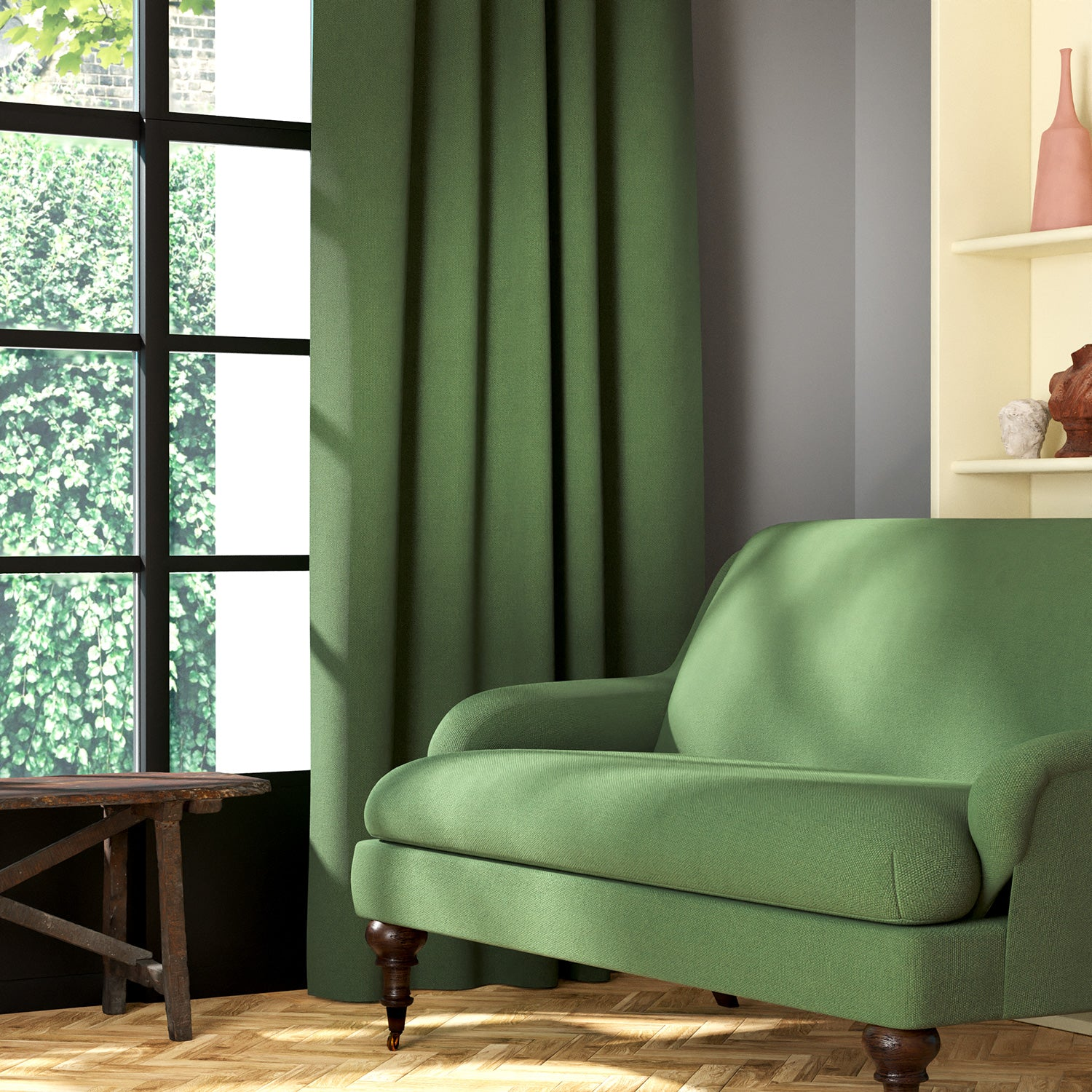 Living room featuring a sofa and curtains in a plain green eco-friendly fabric
