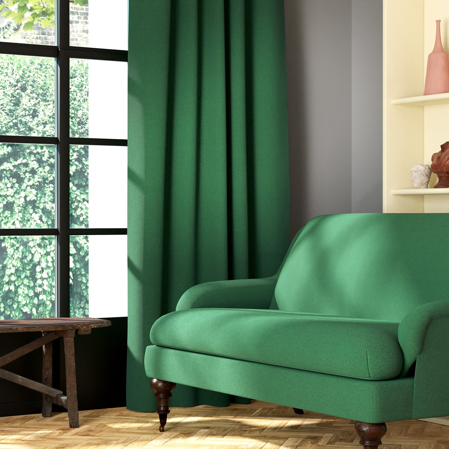 Living room featuring a sofa and curtains in a plain emerald green eco-friendly fabric