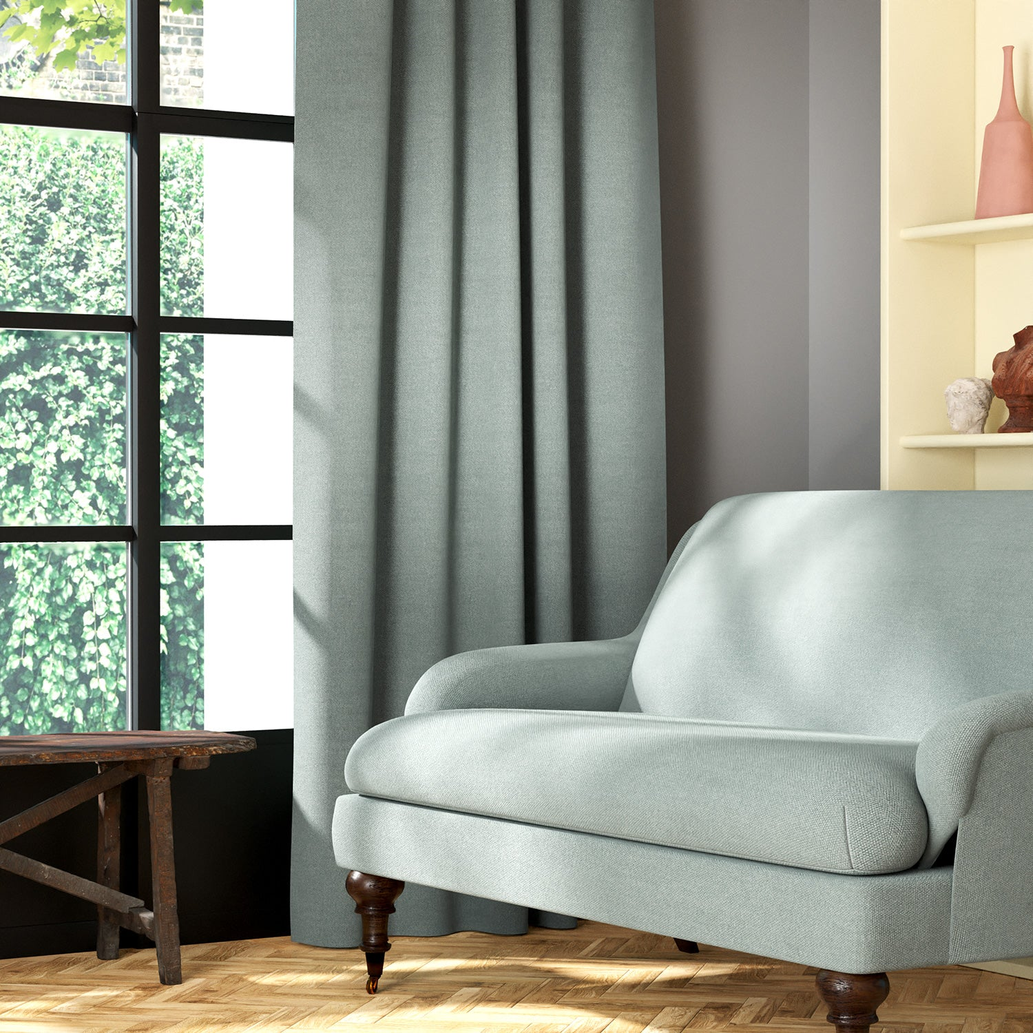Living room featuring a sofa and curtains in a plain baby blue eco-friendly fabric