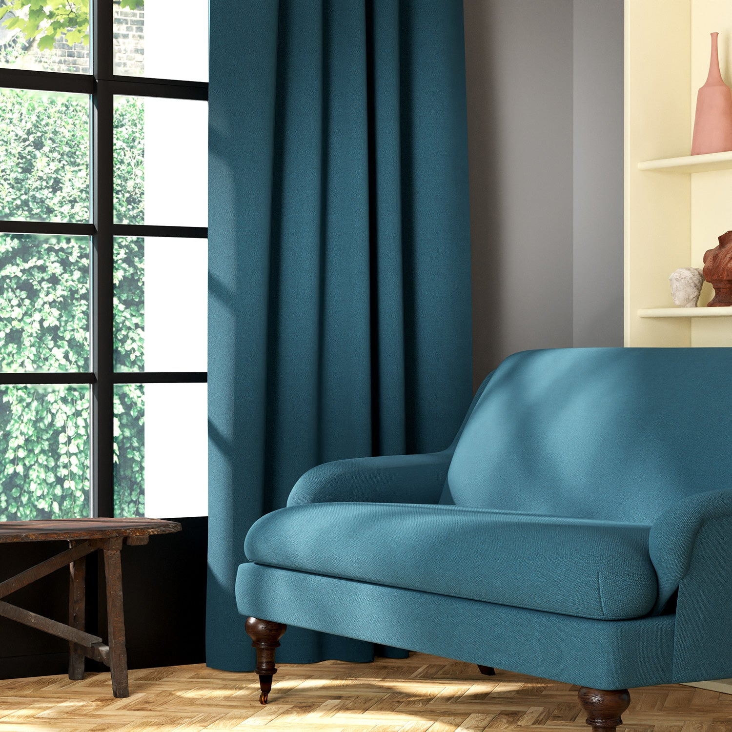 Living room featuring a sofa and curtains in a plain blue eco-friendly fabric