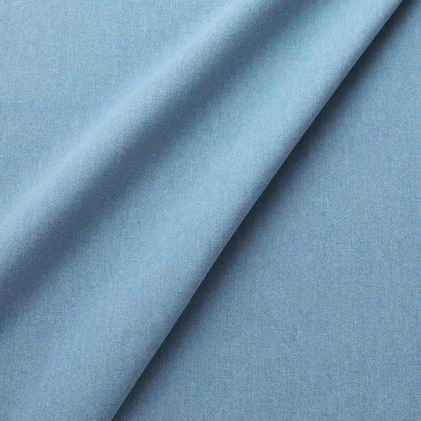 Fabric swatch of a eco-friendly plain cornflower blue fabric for curtains and upholstery
