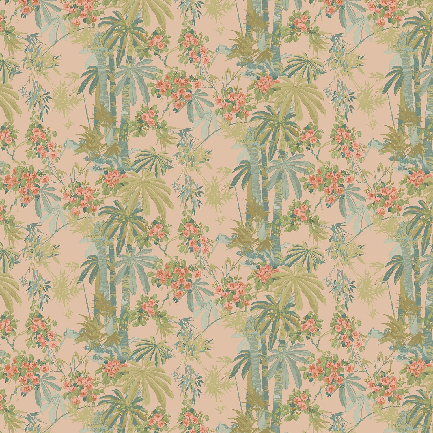 Designer wallpaper with a pink tropical palm tree design