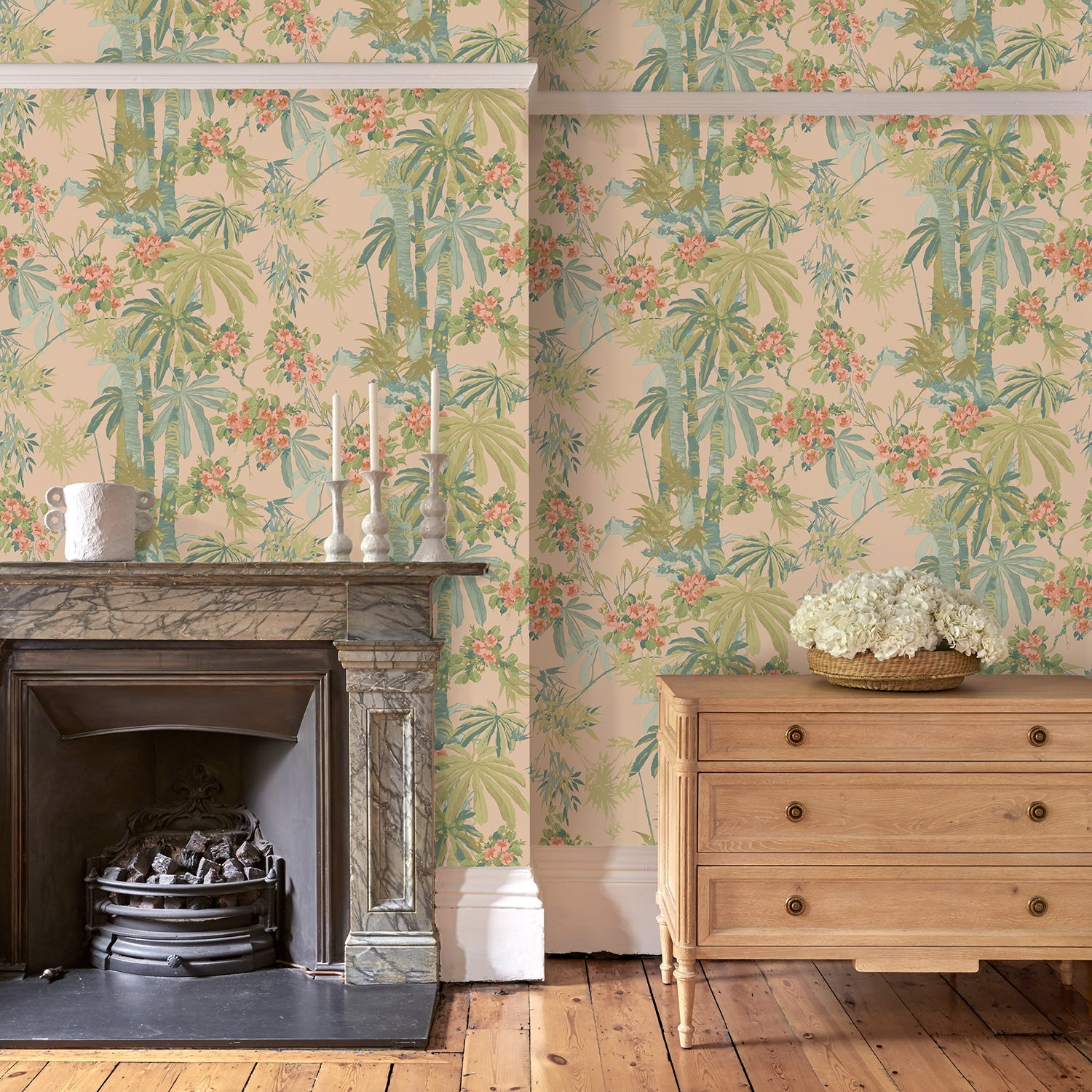 Lounge room featuring a Designer wallpaper with a pink tropical palm tree design